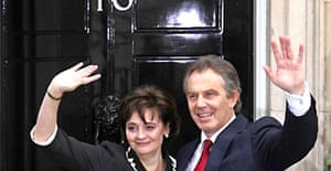 Tony Blair and his wife, Cherie, arrive back at Downing Street after winning the 2005 election
