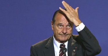 The French president, Jacques Chirac, gives a press conference at a European summit in Brussels in 2004. Photograph: Patrick Kovarik/AFP/Getty Images