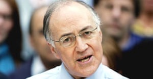 The Tory leader, Michael Howard,  tells the media and party supporters that he will step down once his party decides how and when to elect their new boss. Photograph: Stephen Hird/Reuters