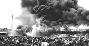 The Bradford City fire disaster, which killed 56 people, unfolds on May 11 1985. Photograph: PA