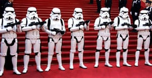 Soldiers of the Empire stand guard at the Festival Palace before the screening of the latest Star Wars film in Cannes. Photograph: Francois Guillot/AFP/Getty