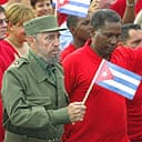 Fidel Castro leads a protest against the USA's handling of the Luis Posada case