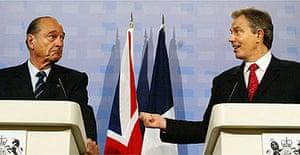 Jacques Chirac and Tony Blair. Photograph: Jim Watson/AFP