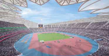 An artist's impression of the main Olympic stadium, part of London's plan for the 2012 Games. Photograph: Getty Images
