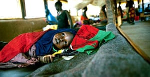 A malnourished child in an intensive care unit at a Medecins Sans Frontieres centre in Sudan. Photograph: David Levene