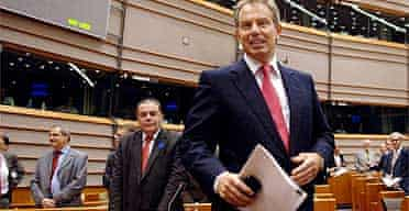 Tony Blair arrives at the European parliament in Brussels