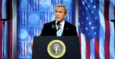 George Bush delivers a televised address to the nation at Fort Bragg, North Carolina. Photograph: Tim Sloan/AFP/Getty