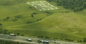 The giant Sudoku grid that appeared overnight in a field at Hinton Farm, near Bristol. Photograph: Tim Anderson/PA