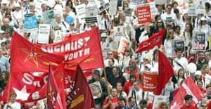 Protesters march along Princes street in Edinburgh's Make Poverty History march