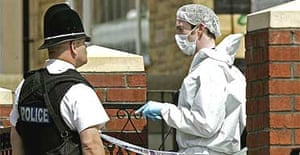 Police search the home of one of the suspected bombers in Colwyn Road, Leeds