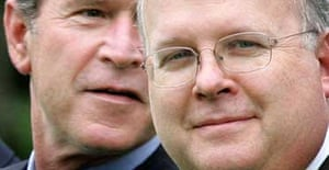 The White House deputy chief of staff, Karl Rove, with George Bush. Photograph: Ron Edmonds/AP