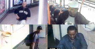 A montage of CCTV images showing four men suspected of being behind the July 21 failed bomb attacks in London