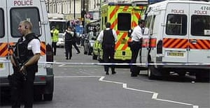 A police cordon in Harrow Road, West Kilburn