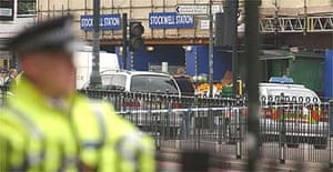 The scene outside Stockwell tube station in London after a man was shot dead by police