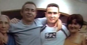 In this image reproduced from O Globo television in Brazil, Jean Charles de Menezes is seen with his relatives. Photograph: TV O Globo/AP