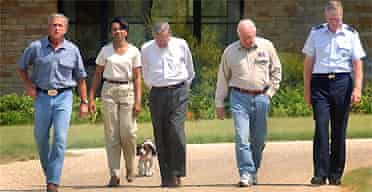 President George Bush, from left, at his ranch with Condoleezza Rice, Donald Rumsfeld, Dick Cheney and Gen Richard Meyers in August 2003