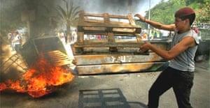 Barricade in Gaza settlement of Neve Dekalim