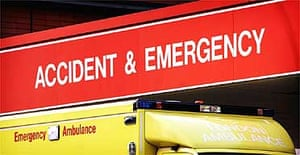 An ambulance at a hospital accident and emergency department