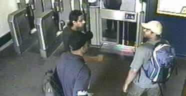 Shahzad Tanweer (l), Germaine Lindsay and Mohammed Sidique Khan (r) enter Luton Train Station at 8.10am on June 28. Photograph: Metropolitan police