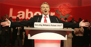 Tony Blair delivers his speech at the Labour party conference in Brighton