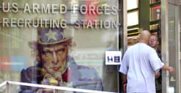 A military recruiting station in Times Square, New York. Photograph: Robert Bukaty/AP