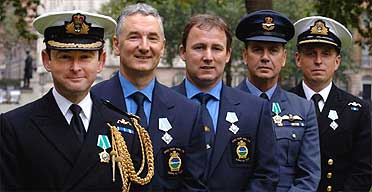 British rescuers of the Russian mini submarine crew after receiving awards from Russian President Vladimir Putin