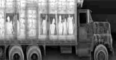 X-ray image of a truck carrying illegal immigrants at a British channel port