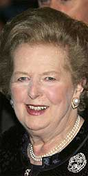 Margaret Thatcher arrives at her 80th birthday party