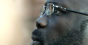 Former footballer and Liberian presidential hopeful George Weah. Photograph: Nic Bothma/EPA