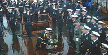 A wreath to Nelson is laid on the HMS Victory