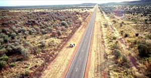 Police photograph of the stretch of the Stuart Highway in the Northern Territory where missing British backpacker Peter Falconio is believed to have been murdered in July 2001