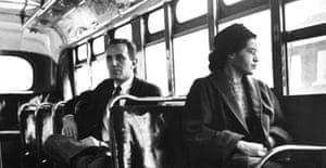 ONE-OFF USE ONLY 26.10.05: Rosa Parks sits undisturbed on a bus in Montogmery, Alabama. Photograph: Corbis