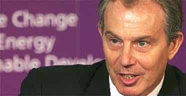 Tony Blair addresses the G8 climate change summit in London