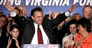 Democrat Tim Kaine, who beat Republican challenger Jerry Kilgore for the governorship of Virginia, waves to the crowd in Richmond