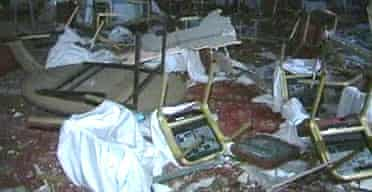 A function room at the Radisson hotel in Amman - one of three hotels attacked by suicide bombers. Photograph: AP