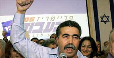 Amir Peretz gives a speech after winning the Labour party leadership election in Tel Aviv
