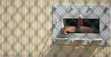 A detainee's arm hangs outside his cell at Camp Delta in Guantanamo Bay