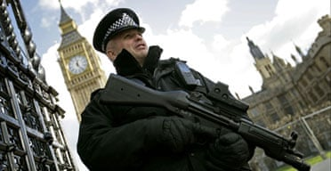 An armed police officer outside the Houses of Parliament
