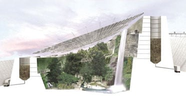 The concept proposal put forward by the Eden Project architects, Grimshaw, for the development of a 'Kew of the north' tropical rainforest.