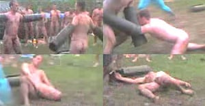(Top left) two naked marines square up for the fight; (top right) they barge into each other; (bottom left) 'the surgeon' kicks one man in the face; (bottom right) he slumps on the floor, apparantly unconscious