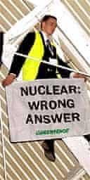 A Greenpeace protester at the CBI
