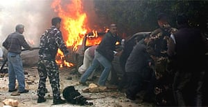 The scene of a bombing that hit the convoy of Gibran Tueni in Beirut, Lebanon