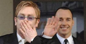 Elton John and David Furnish at their civil partnership ceremony in Windsor. Photograph: Steve Parsons/PA
