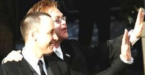 Elton John and David Furnish at their civil partnership ceremony in Windsor. Photograph: Daniel Berehulak/Getty