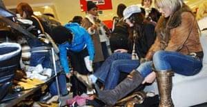 After-Christmas sales crowds at Selfridges. Photograph: Fiona Hanson/PA
