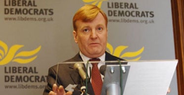 Charles Kennedy makes a statement to the media in which he admitted he had faced and resolved his drink problem and called a party leadership contest. Photograph: Fiona Hanson/PA