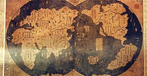 A map that allegedly proves Chinese mariner Zheng He was the first to discover America and circumnavigate the world