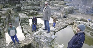 Archaeologists pictured amid the ruins of modern Istanbul's ancient port