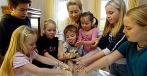Ursula von der Leyen with her children. She wants fathers to help more with childcare. Photograph: Jochen Luebke/AFP