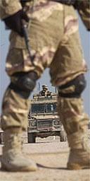 The scene of the roadside bomb attack in Um Qasr, which killed the 100th British soldier to perish in Iraq